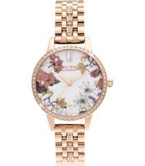olivia burton women's sparkle floral rose gold-tone bracelet watch 30mm