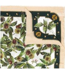 dolce & gabbana cashmere-modal blend chestnut print scarf - white
