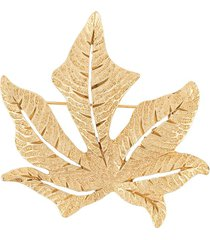 christian dior pre-owned autumn leaf brooch - gold