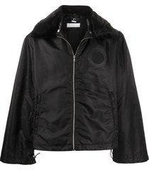 random identities wide collar padded jacket - black