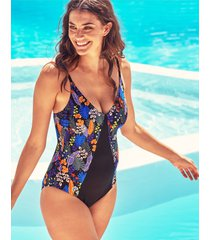 santiago floral soft plunge tummy control one-piece swimsuit