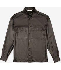 oversized leather shirt black 52