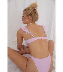 melissa bentsen x na-kd återvunnen bikinitrosa med hög midja - purple