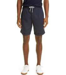 men's brunello cucinelli drawstring linen & cotton shorts, size 46 eu - blue