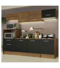 cozinha completa madesa onix 240002 com armario e balcão rustic/preto 5zd8 rustic/preto/rustic