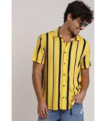 camisa masculina tradicional listrada manga curta mostarda