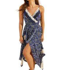 guess bali printed asymmetric faux-wrap dress