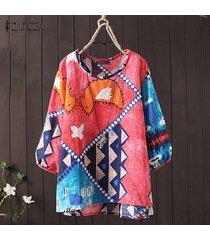 zanzea mujeres de cuello redondo y estampado floral étnico tapas de la camisa de la blusa asimétrica floja -rosado