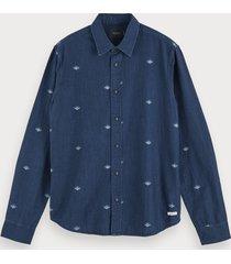 scotch & soda indigo overhemd met print | regular fit