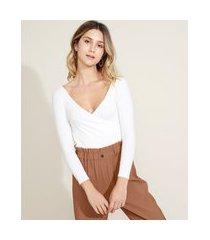 blusa feminina com transpasse manga longa decote v off white