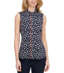 tommy hilfiger sleeveless floral-print top