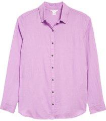 women's caslon camo linen blend button front top, size xx-large - purple