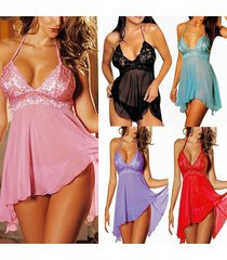 plus size women's sexy lingerie lace dress underwear babydoll sleepwear g string