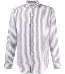 eleventy vertical striped linen shirt - white