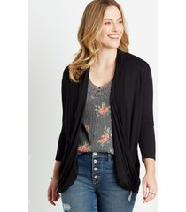 maurices womens black 3/4 sleeve slouchy pocket cardigan