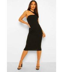 getailleerde mouwloze midi jurk met uitsnijding, black