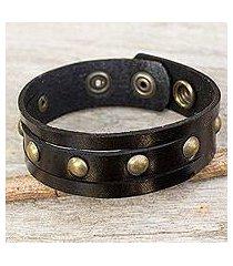 men's leather wristband bracelet, 'rustic black' (thailand)
