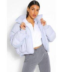 gewatteerde jas met hoge hals, poederblauw