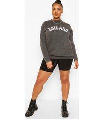 plus oversized chicago sweater, zwart