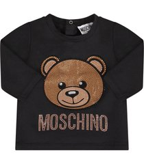 moschino black babygirl t-shirt with rhinestoned teddy bear