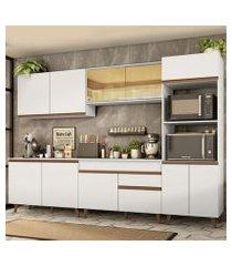cozinha completa madesa reims 310001 com armário e balcão branco branco