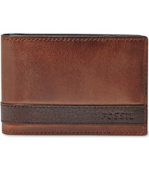 fossil men's leather quinn money clip bifold wallet