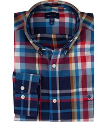 geruit overhemd rood blauw gant regular fit