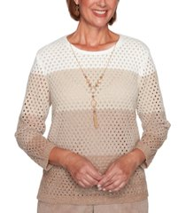 alfred dunner petite dover cliffs chenille open-stitch ombre sweater