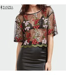 zanzea blusa de las mujeres camisas de verano ver a través de malla bordado floral o cuello manga corta tops blusas más el tamaño -negro