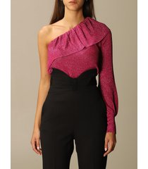 red valentino sweater red valentino one-shoulder top in lurex viscose