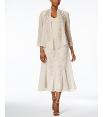 r & m richards sleeveless beaded v-neck dress and jacket