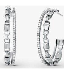 mk orecchini a cerchio mercer link in argento sterling placcato con metallo prezioso con aureole e pietre pavé - argento (argento) - michael kors