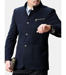 uomo giacca invernale di lana misto slim fit con collo a listino alla moda