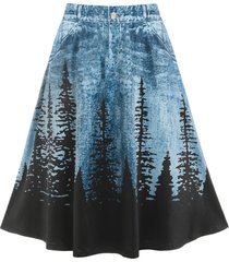 plus size 3d jean print trees knee length skirt