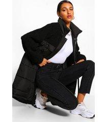 lange gewatteerde faux fur mix teddy jas met ceintuur, zwart