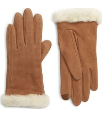 women's ugg genuine shearling trim suede tech gloves, size small - brown