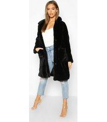button through double pocket faux fur coat, black