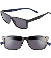 men's salvatore ferragamo 57mm square sunglasses - black/ blue