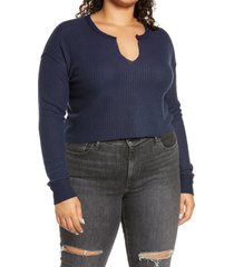 plus size women's bp. crop waffle knit pullover, size 3x - blue