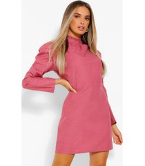 high neck puff sleeve shift dress, rose