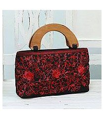 embroidered handbag, 'rose elegance' (india)