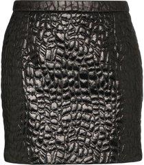 saint laurent crocodile-embossed mini skirt - black