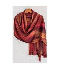 rayon chenille shawl, 'maya firebird' (guatemala)