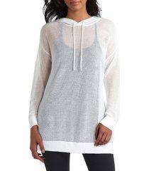 women's long sleeve hooded mesh sweatshirt