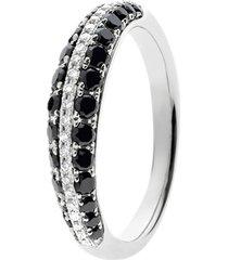 anello in oro bianco e diamanti bianchi e neri 0,09/0,57 ct per donna