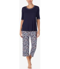 cuddl duds printed cropped pants pajamas set