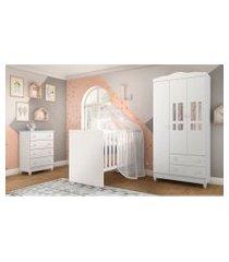 dormitório ariel guarda roupa 3 portas/cômoda ariel/berço gabi branco carolina baby