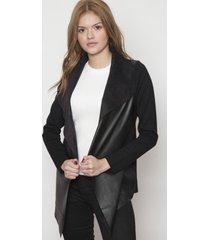 chaleco fashion de ecocuero negro 609 seisceronueve