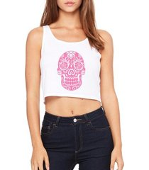 top cropped criativa urbana caveira rosa