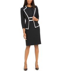 le suit petite contrast-trim dress suit